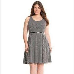 EUC Lane Bryant Black/White Polka Dot Skater Dress